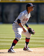 CHICAGO - APRIL 09:  Francisco Lindor #12 of the Cleveland Indians fields against the Chicago White Sox on April 9, 2016 at U.S. Cellular Field in Chicago, Illinois.  The White Sox defeated the Indians 7-3.  (Photo by Ron Vesely)  Subject: Francisco Lindor