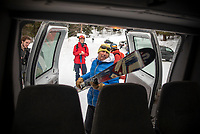 Randy Roberts loads skies and snowboards at the Trail Creak trailhead Saturday while driving a shuttle for backcountry users to the top of Teton Pass, a trial by the Teton Backcountry Alliance as a way to mitigate conjested parking at the summit.
