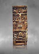 Medieval ivory plaque depicting the Crucifixion and the saints at the tomb, end of 11th cent from Salerne or Amalfi. AD. Inv OA 4085, The Louvre Museum, Paris. .<br /> <br /> If you prefer you can also buy from our ALAMY PHOTO LIBRARY  Collection visit : https://www.alamy.com/portfolio/paul-williams-funkystock/romanesque-art-antiquities.html . Type -   Louvre   - into the LOWER SEARCH WITHIN GALLERY box. Refine search by adding background colour, place, museum etc<br /> <br />  Visit our MEDIEVAL PHOTO COLLECTIONS for more   photos  to download or buy as prints https://funkystock.photoshelter.com/gallery-collection/Medieval-Romanesque-Art-Antiquities-Historic-Sites-Pictures-Images-of/C0000uYGQT94tY_Y