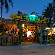 Queens cafe for backpackers at night near Cenang beach, Langkawi, Malaysia