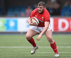 Wales Prop William Sanderson in Action <br /> Photographer Mike Jones/Replay Images<br /> <br /> Wales U18s v Italy U18s<br /> Six Nations, Sunday 8th April 2018, <br /> Cardiff Arms Park, Cardiff, <br /> <br /> World Copyright © Replay Images . All rights reserved. info@replayimages.co.uk - http://replayimages.co.uk