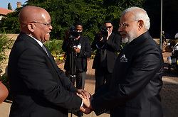 President Jacob Zuma receives Prime Minister Narendra Damodardas Modi of the Republic of the India at the Union Buildings in Pretoria. Prime Minister Modi is on a two day Official visit to South Africa. During the visit, President Zuma and Prime Minister Modi will hold official talks, followed by a briefing to the media. 08/07/2016, Elmond Jiyane, GCIS (Credit Image: © {Elmond Jiyane/Xinhua via ZUMA Wire)