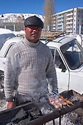 BBQ meat skewers in Chimgan ski resort on 28th February 2014 in Uzbekistan. Chimgan is 90kms east of the capital Tashkent, and a popular weekend destination year round.