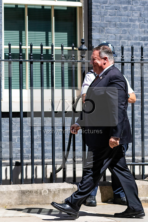 US Secretary of State Mike Pompeo walks past by Police Guard as he arrives in Downing Street, central London on Tuesday, July 21, 2020. Sec Pompeo is scheduled to meet with Prime Minister Boris Johnson and Foreign Secretary Dominic Raab for discussions on 'global priorities, including the COVID-19 economic recovery plans, issues related to the People's Republic of China (PRC) and Hong Kong, and the US-UK Free Trade Agreement negotiations. (VXP Photo/ Vudi Xhymshiti)
