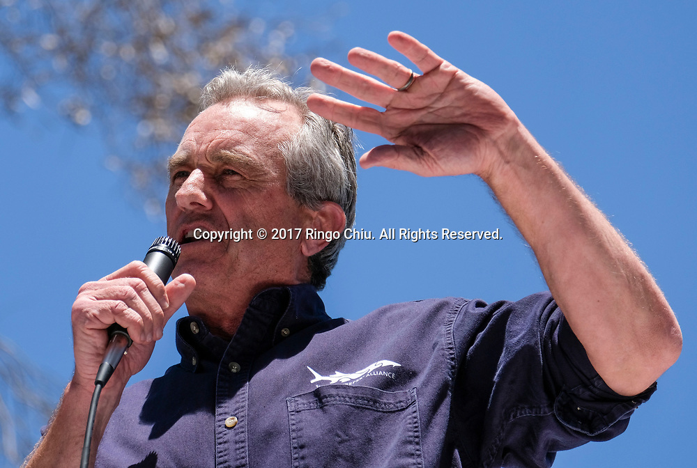 """Radio host Robert F Kennedy Jr., speaks before the """"People's Climate March"""" a climate change awareness march and rally, in Los Angeles, Saturday, April 29, 2017. The gathering was among many others of its kind held nationwide marking President Donald Trump's 100th day in office.(Photo by Ringo Chiu/PHOTOFORMULA.com)<br /> <br /> Usage Notes: This content is intended for editorial use only. For other uses, additional clearances may be required."""