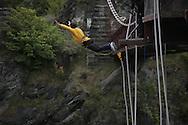 A bungy jump near Queentown New Zealand.  Photograph by Dennis Brack