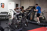 Terrence Mitchell of Alaska and UFC lightweight Mitch Clarke of Canada go through their own cardio workout at Jackson Wink MMA in Albuquerque, New Mexico on June 9, 2016.