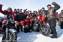 Michael Goloshchapov with friends and his 1980 H-D Ironhead 1000cc racer at the