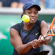 PARIS, FRANCE June 5.  Sloane Stephens of the United States in action against Karolina Muchova of the Czech Republic on CourtSimonne Mathieu during the third round of the singles competition at the 2021 French Open Tennis Tournament at Roland Garros on June 5th 2021 in Paris, France. (Photo by Tim Clayton/Corbis via Getty Images)
