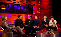 (left to right) Host Graham Norton, Ed Westwick, James Buckley, Salma Hayek, David Walliams and Liam Payne during the filming of the Graham Norton Show at the London Studios, to be aired on BBC One on Friday.