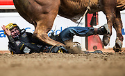 during the bull riding event at the Calgary Stampede on day 3 in Calgary, Alberta Sunday, July 9, 2017. Todd Korol/The Globe and Mail