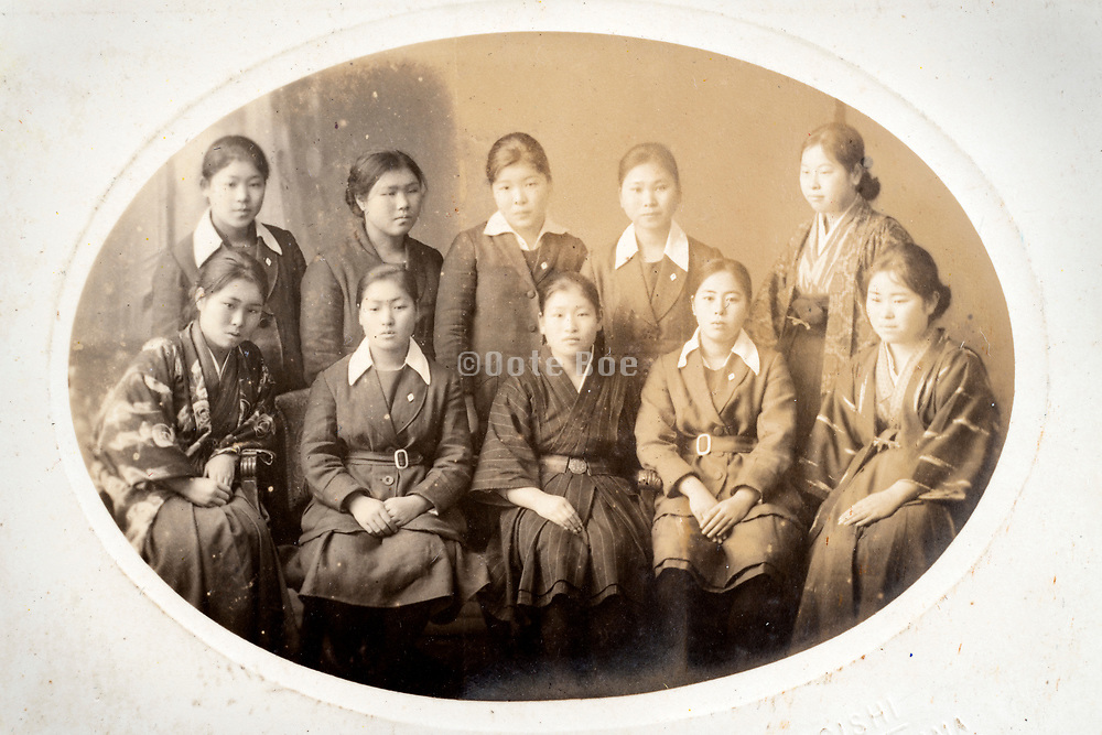 school girls only group portait Japan ca 1930s