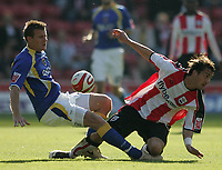 Photo: Lee Earle.<br /> Southampton v Cardiff City. Coca Cola Championship. 21/10/2007. Cardiff's Paul Parry (L) clashes with Rudi Skacel.