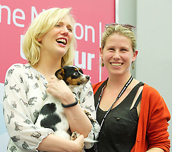 Labour Party Women's Conference 2013<br /> Stella Creasy MP (L), Caroline Criado-Perez a women rights activist with Poppy the dog during The Labour Party Conference<br /> at the Hilton Metropole Hotel, Brighton, United Kingdom, Saturday, 21st September 2013. Picture by Elliott Franks / i-Images