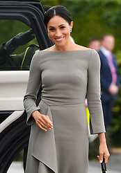 The Duchess of Sussex arriving to meet Michael Higgins at Aras an Uactharain on the second day of the Royal couple's visit to Dublin, Ireland.
