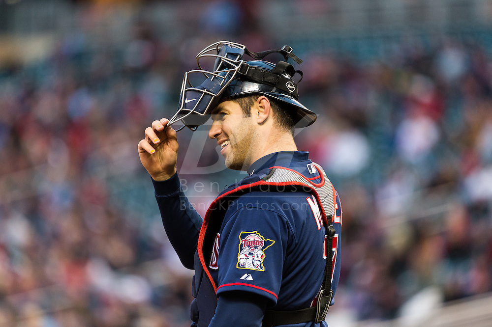 Joe Mauer #7 of the Minnesota Twins smiles during a game against the Los Angeles Angels on April 16, 2013 at Target Field in Minneapolis, Minnesota.  The Twins defeated the Angels 8 to 6.  Photo: Ben Krause
