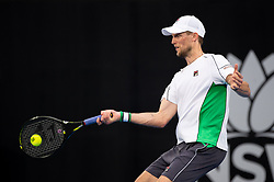 January 11, 2019 - Sydney, NSW, U.S. - SYDNEY, NSW - JANUARY 11: Andreas Seppi (ITA) hits a forehand in his game against Diego Schwartzman (ARG) at The Sydney International Tennis on January 11, 2018, at Sydney Olympic Park Tennis Centre in Homebush, Australia. (Photo by Speed Media/Icon Sportswire) (Credit Image: © Steven Markham/Icon SMI via ZUMA Press)