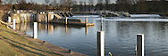 Mapledurham Weir on the River Thames, Berkshire, Uk