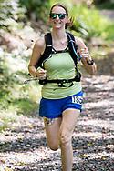 Rosendale, New York  - A runner in the 13.1-mile race nears the finish line  of fhe Shawangunk Ridge Trail Run/Hike on Sept. 16, 2017. Rosendale, New York - A runner in the 13.1-mile race nears the finish line of fhe Shawangunk Ridge Trail Run/Hike on Sept. 16, 2017.