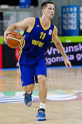 Dmytro Zabirchenko #11 of Ukraine during basketball match between National teams of Belgium and Ukraine at Day 1 of Eurobasket 2013 on September 4, 2013 in Tivoli Hall, Ljubljana, Slovenia. (Photo By Urban Urbanc / Sportida.com)