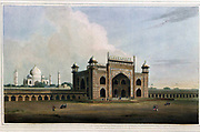 The principal gate leading to the Taje Mahel [Taj Mahal], at Agra, July 1796 This Gate is of red stone and white marble, elegantly ornamented. The spandals over the arches are decorated with foliage of various coloured stones inlaid. The Taje Mah'l is a Mausoleum of white marble, built by the Emperor Shah Jehan, in the year 1631, for his favourite Queen; and is considered by the natives as the most beautiful work of the kind in Hindoostan. The Emperor also lies interred here. The space between the gate and the tomb is converted into a garden, with avenues of trees, fountains, beds of flowers, &c. The river Jumna washes the lofty walls of the terrace on which this celebrated building stands. Agra is distant from Delhi southward about one hundred and thirty-seven miles. From the book ' Oriental scenery: one hundred and fifty views of the architecture, antiquities and landscape scenery of Hindoostan ' by Thomas Daniell, and William Daniell, Published in London by the Authors January 1, 1812