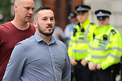 © Licensed to London News Pictures. 19/07/2019. London, UK. James Goddard arrives at Westminster Magistrates Court for the start of a two-day trial for harassment of Remain-supporting MP Anna Soubry. Photo credit: Rob Pinney/LNP