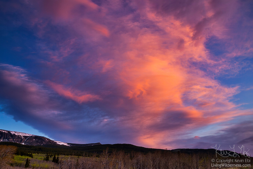 The first light of day creates a dramatic light show near St. Mary's, on the east side of Glacier National Park in Montana. The fiery cloud dwarfs the trees below.