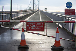 Pics of the closed Forth Road Bridge from the north, Fife side at North Queensferry. Pic of the closed pedestrian north bound side.