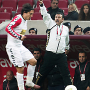 Mersin Idman Yurdu's coach Nurullah SAGLAM during their Turkish Superleague soccer match Galatasaray between Mersin Idman Yurdu at the Turk Telekom Arena at Aslantepe in Istanbul Turkey on Saturday 05 November 2011. Photo by TURKPIX