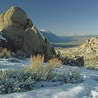 Eroded granite boulders overlook Owens Valley near Bishop, California.