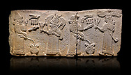 Aslantepe Monumental Hittite relief sculpted orthostat stone panel.  Limestone, Aslantepe, Malatya, 1200-700 B.C. <br /> <br /> <br /> Scene of the king's offering drink and sacrifice to the gods. The king offers to the winged god of the moon who stands across and holds a lightning bundle in his hand. Behind the king is the queen, who also offers to goddess of the sun holding a sceptre in his hand. King's left hand is in a position to worship. <br /> <br /> Against a black background.<br /> <br /> If you prefer to buy from our ALAMY STOCK LIBRARY page at https://www.alamy.com/portfolio/paul-williams-funkystock/hittite-art-antiquities.html . Type - Aslantepe - in LOWER SEARCH WITHIN GALLERY box. Refine search by adding background colour, place, museum etc.<br /> <br /> Visit our HITTITE PHOTO COLLECTIONS for more photos to download or buy as wall art prints https://funkystock.photoshelter.com/gallery-collection/The-Hittites-Art-Artefacts-Antiquities-Historic-Sites-Pictures-Images-of/C0000NUBSMhSc3Oo