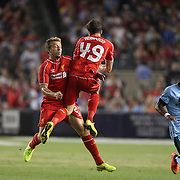 Jack Robinson, (right), Liverpool, collides with team mate Lucas Leiva, Liverpool, during the Manchester City Vs Liverpool FC Guinness International Champions Cup match at Yankee Stadium, The Bronx, New York, USA. 30th July 2014. Photo Tim Clayton