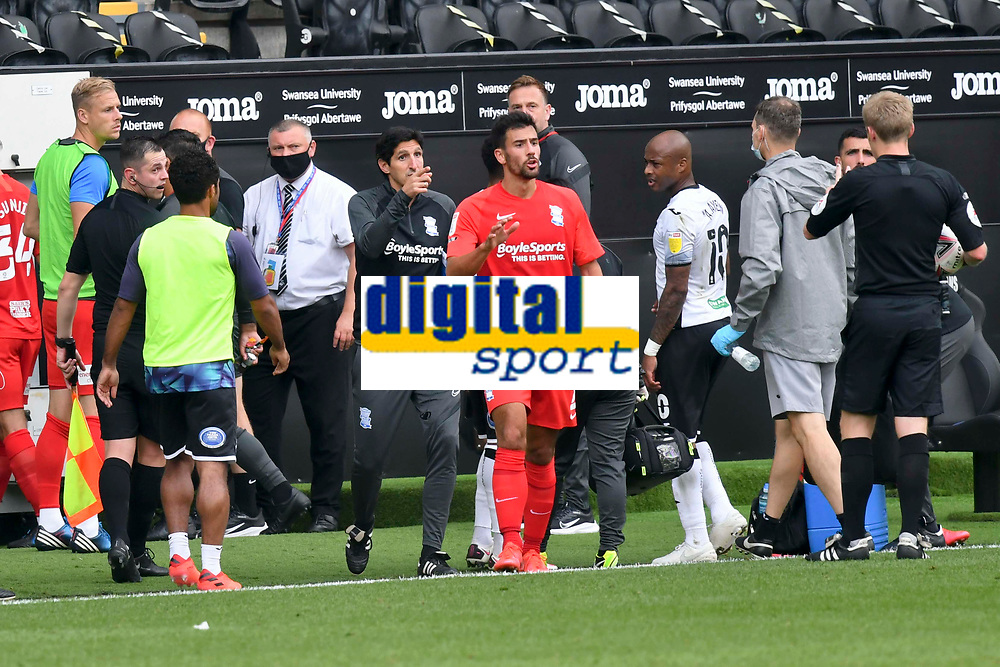 Football - 2020 /2021 EFL Championship - Swansea City vs Birmingham City <br />      <br /> Birmingham manager Aitor Karanka points as the players approach the tunnel at half time <br /> in a match played without fans at the Liberty Stadium<br /> <br /> COLORSPORT/WINSTON BYNORTH