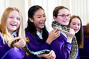 12/11/2018 Repro free: Galway Science and Technology Festival, the largest science event in Ireland, runs from 11-25 November featuring exciting talks, workshops and special events. Full programme at GalwayScience.ie. . From Our Lady's College Wiktoria Szejna,  Amoy Meng , Python holder  Caitlin Sills and Dominika Szen looking on . Photo:Andrew Downes, Xposure.