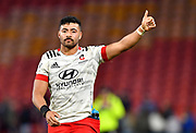 Richie Mo'unga of the Crusaders celebrates winning the Round 2 Trans-Tasman Super Rugby match between the Queensland Reds and the Canterbury Crusaders at Suncorp Stadium in Brisbane, Saturday, May 22, 2021. (AAP Image/Darren England) NO ARCHIVING, EDITORIAL USE ONLY