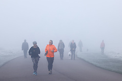 © Licensed to London News Pictures. 27/11/2020. London, UK. Fog lingers as people exercise in Bushy Park, south west London. Parts of the UK are experiencing freezing weather and low temperatures. Photo credit: Peter Macdiarmid/LNP