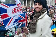 April 29th 2011 Royal Wedding. Trafalgar Square. Young Muslim girl with Union Jack.