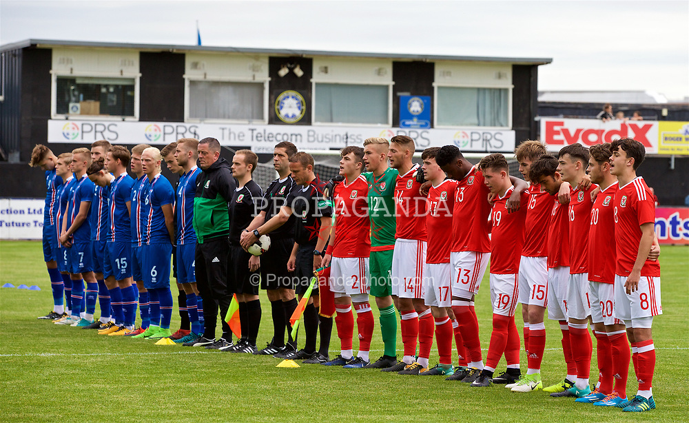 RHYL, WALES - Monday, September 4, 2017: Iceland and Wales players stand for the national anthems before an Under-19 international friendly match between Wales and Iceland at Belle Vue. (Pic by Paul Greenwood/Propaganda)