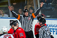 KELOWNA, BC - DECEMBER 30: Referee Mike Langin stands at the net for a no goal call by the Kelowna Rockets against the Prince George Cougars  at Prospera Place on December 30, 2019 in Kelowna, Canada. (Photo by Marissa Baecker/Shoot the Breeze)