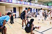 NORTH AUGUSTA, SC. July 10, 2019. Jamir Watkins 2020 #0 of Team Final 17U gets helped up from a teammate at Nike Peach Jam in North Augusta, SC. <br /> NOTE TO USER: Mandatory Copyright Notice: Photo by Alex Woodhouse / Jon Lopez Creative / Nike