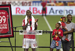 August 5, 2018 - Harrison, New Jersey, United States - Bradley Wright-Phillips speaks during New York Red Bulls honored Bradley Wright-Phillips for scoring fastest 100 goals in MLS history after game against LAFC at Red Bull Arena Red Bulls won 2 - 1  (Credit Image: © Lev Radin/Pacific Press via ZUMA Wire)