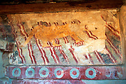 MEXICO, PRE-HISPANIC, TEOTIHUACAN 100BC-700AD, fresco of a jaguar in the Temple of the Jaguar which is located on the Avenue of the Dead