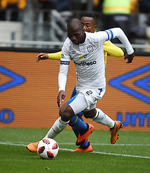 Cape Town-180825- Cape Town City player Thami Mkhize challenged by  Mamelodi Sundowns Lebohang Maboe  in the MTN 8 semi-final at Cape Town Stadum.Photographer :Phando Jikelo/African News Agency/ANA