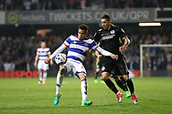 Queens Park Rangers Ravel Morrison (49) and Brighton & Hove Albion winger Anthony Knockaert (11) during the EFL Sky Bet Championship match between Queens Park Rangers and Brighton and Hove Albion at the Loftus Road Stadium, London, England on 7 April 2017.