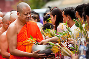 "15 JULY 2011 - PHRA PHUTTHABAT, SARABURI, THAILAND:  People present flowers and candles to monks during the Tak Bat Dok Mai at Wat Phra Phutthabat in Saraburi province of Thailand, Friday, July 15. Wat Phra Phutthabat in Phra Phutthabat, Saraburi, Thailand, is famous for the way it marks the beginning of Vassa, the three-month annual retreat observed by Theravada monks and nuns. The temple is highly revered in Thailand because it houses a footstep of the Buddha. On the first day of Vassa (or Buddhist Lent) people come to the temple to ""make merit"" and present the monks there with dancing lady ginger flowers, which only bloom in the weeks leading up Vassa. They also present monks with candles and wash their feet. During Vassa, monks and nuns remain inside monasteries and temple grounds, devoting their time to intensive meditation and study. Laypeople support the monastic sangha by bringing food, candles and other offerings to temples. Laypeople also often observe Vassa by giving up something, such as smoking or eating meat. For this reason, westerners sometimes call Vassa the ""Buddhist Lent."" The tradition of Vassa began during the life of the Buddha. Most of the time, the first Buddhist monks who followed the Buddha did not stay in one place, but walked from village to village to teach. They begged for their food and often slept outdoors, sheltered only by trees. But during India's summer rainy season living as homeless ascetics became difficult. So, groups of monks would find a place to stay together until the rain stopped, forming a temporary community. Wealthy laypeople sometimes sheltered monks on their estates. Eventually a few of these patrons built permanent houses for monks, which amounted to an early form of monastery.  PHOTO BY JACK KURTZ"