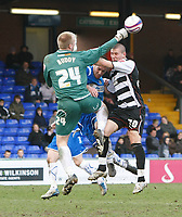 Photo: Matt Bright/Richard Lane Photography. <br />Stockport County v Darlington. Coca Cola Divison Two. 05/04/2008. keeper John Ruddy punches clear in front of Tommy Wright (R)