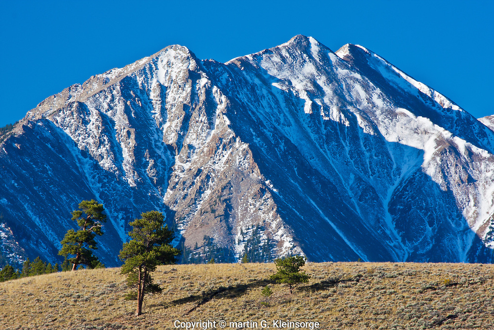 First snow of the autumn season on Twin Peaks of the Sawatch Mountains, Colorado.