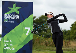 Gleneagles, Scotland, UK; 10 August, 2018.  Day three of European Championships 2018 competition at Gleneagles. Men's and Women's Team Championships Round Robin Group Stage. Four Ball Match Play format.  Pictured; Georgia Hall of Great Britain on 7th tee  in match against Belgium.