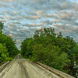 A cloudy morning on the West Branch of the Pleasant River near Silver Lake in Piscataquis County, Maine. Katahdin Iron Works Road (KI Road). Near Greenville.