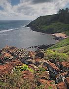 Landscape and water, Northern beach Kauai, Hawaii